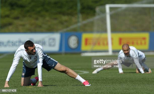 Marcelo Brozovic and Rodrigo Palacio of FC Internazionale train during the FC Internazionale training session at the club's training ground Suning...