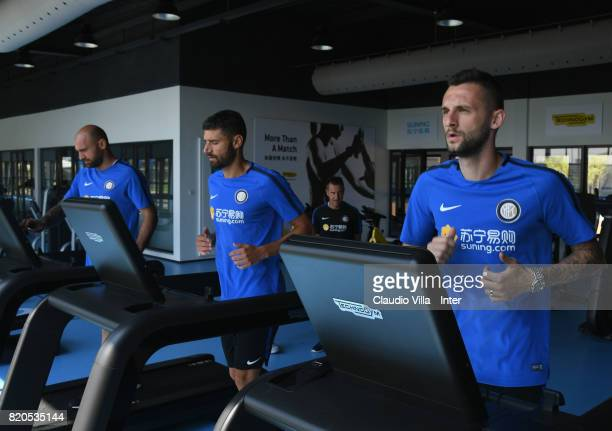 Marcelo Brozovic Antonio Candreva Tommaso Berni of FC Internazionale in action during a training session at Suning Jiangsu Training Center on July 22...