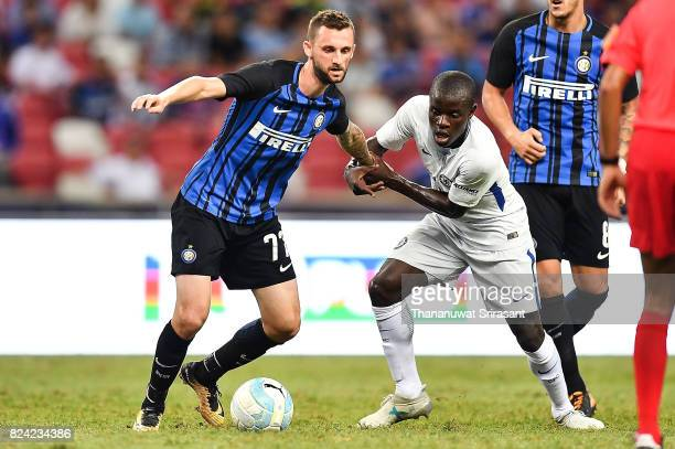 Marcelo Brozovic of FC Interernazionale and N'Golo Kante of Chelsea FC competes for the ball during the International Champions Cup match between FC...
