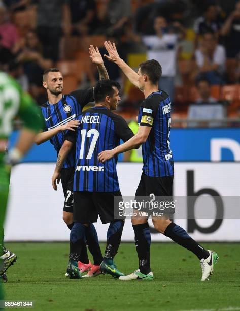 Marcelo Brozovic of FC Internazionale celebrates after scoring the third goal during the Serie A match between FC Internazionale and Udinese Calcio...