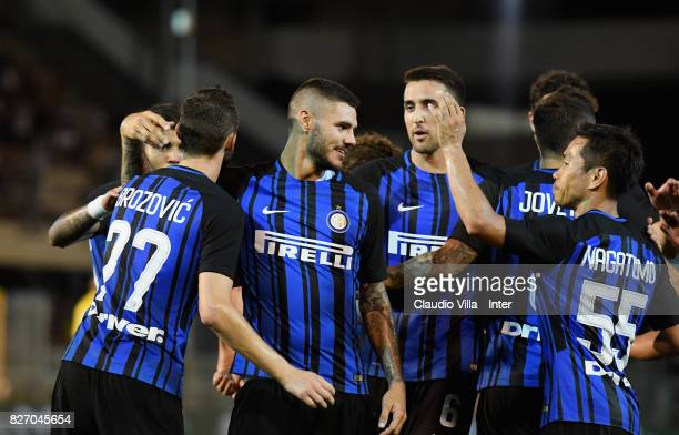 Marcelo Brozovic of FC Internazionale celebrates after scoring the third goal during the PreSeason Friendly match between FC Internazionale and...