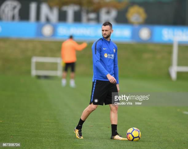 Marcelo Brozovic of FC Internazionale compete in action during the FC Internazionale training session at Suning Training Center at Appiano Gentile on...
