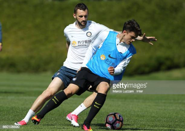Marcelo Brozovic of FC Internazionale competes for the ball during the FC Internazionale training session at the club's training ground Suning...