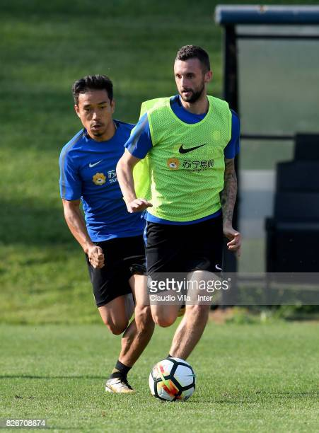 Marcelo Brozovic of FC Internazionale in action during a training session at Suning Training Center at Appiano Gentile on August 2 2017 in Como Italy