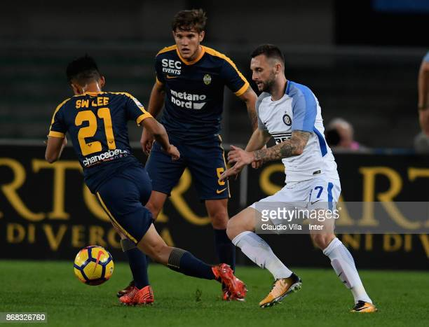 Marcelo Brozovic of FC Internazionale in action during the Serie A match between Hellas Verona FC and FC Internazionale at Stadio Marc'Antonio...