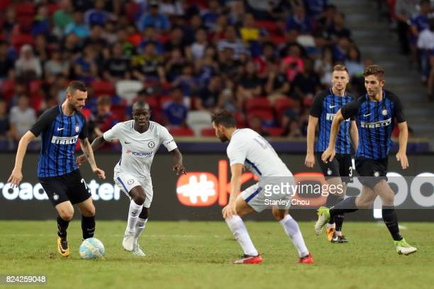 Marcelo Brozovic of FC Internazionale is checked by N'Golo Kante of Chelsea FC during the International Champions Cup match between FC Internazionale...