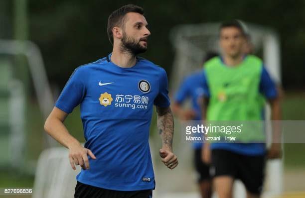 Marcelo Brozovic of FC Internazionale looks on during the FC Internazionale training session at the club's training ground Suning Training Center in...