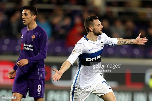 Marcelo Brozovic of FC Internazionale Milano celebrates after scoring a goal during the Serie A match between ACF Fiorentina and FC Internazionale...