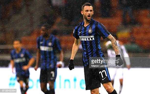 Marcelo Brozovic of FC Internazionale Milano celebrates after scoring the opening goal during the TIM Cup match between FC Internazionale Milano and...