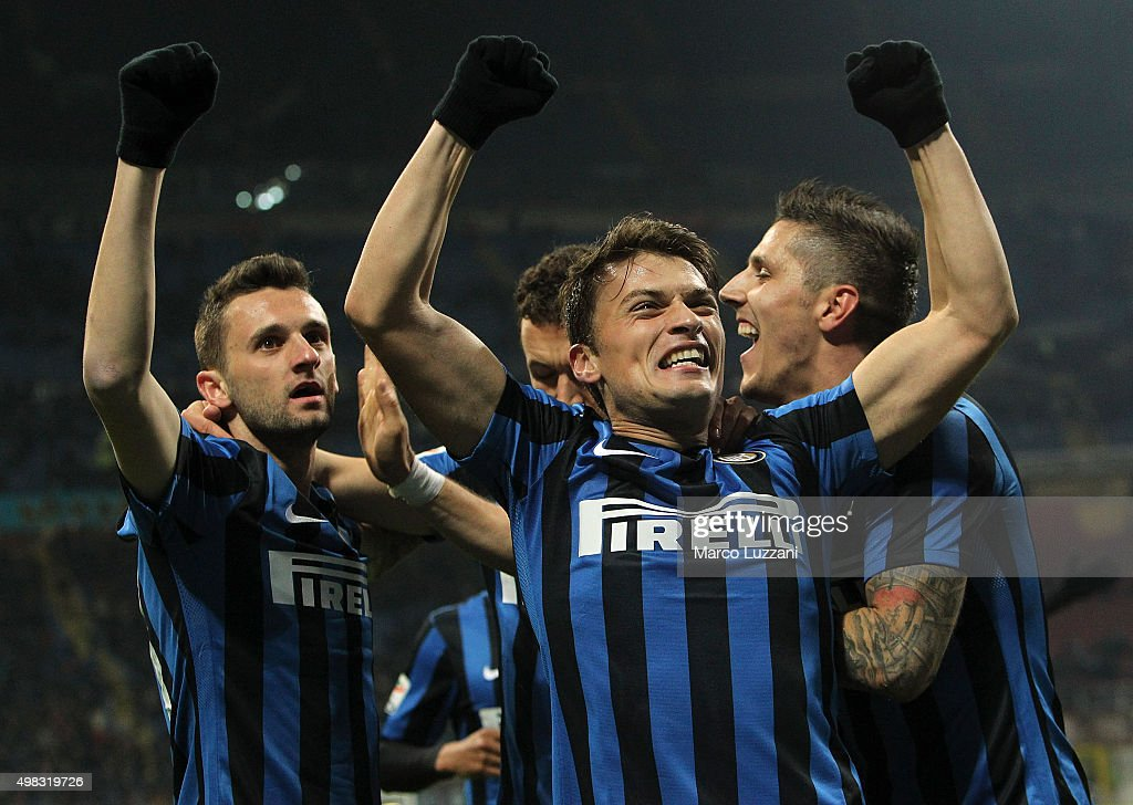 Marcelo Brozovic (L) of FC Internazionale Milano celebrates his goal with his team-mates Adem Ljajic (C) and Stevan Jovetic (R) during the Serie A match between FC Internazionale Milano and Frosinone Calcio at Stadio Giuseppe Meazza on November 22, 2015 in Milan, Italy.