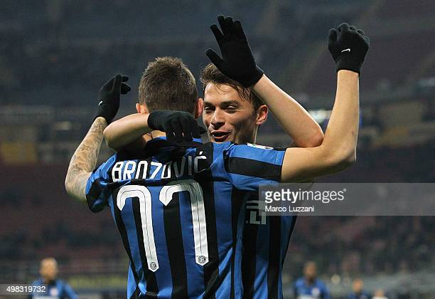 Marcelo Brozovic of FC Internazionale Milano celebrates his goal with his teammate Adem Ljajic during the Serie A match between FC Internazionale...