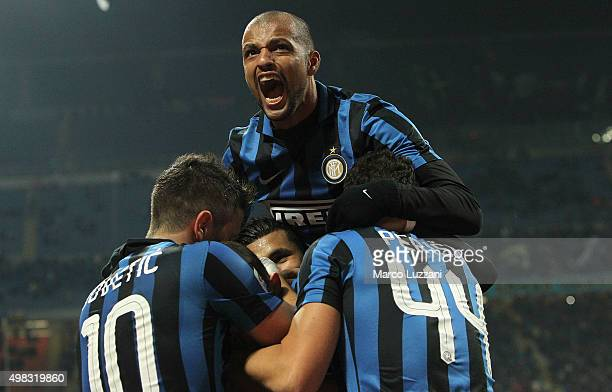 Marcelo Brozovic of FC Internazionale Milano celebrates his goal with his teammates Ivan Perisic Stevan Jovetic and Felipe Melo during the Serie A...