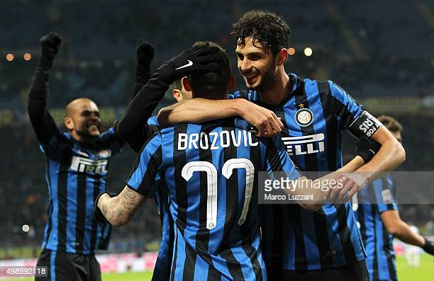 Marcelo Brozovic of FC Internazionale Milano celebrates his goal with his teammate Andrea Ranocchia during the Serie A match between FC...