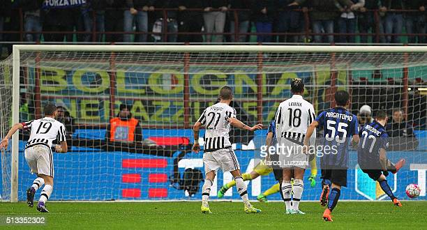 Marcelo Brozovic of FC Internazionale Milano cscores his second goal from the penalty spot during the TIM Cup match between FC Internazionale Milano...
