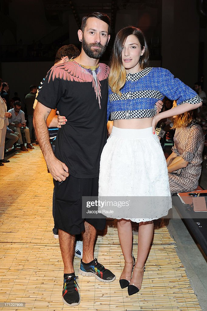 Marcelo Burlon and Eleonora Carisi attend the Missoni Collection show during Milan Menswear Fashion Week Spring Summer 2014 on June 23, 2013 in Milan, Italy.