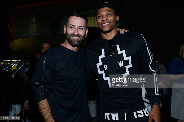 Marcelo Burlon and Russell Westbrook seen backstage ahead of the Marcelo Burlon County of Milan show during the Milan Men's Fashion Week...