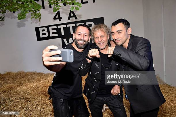 Marcelo Burlon Renzo Rosso and Nicola Formichetti attend Renzo Rosso And OTB Launch 'Radical Renaissance 555' Book on June 17 2016 in Milan Italy