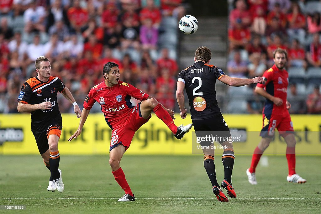 Marcelo Carrusca of Adelaide passes the ball during the round 13 A-League match between Adelaide United and the Brisbane Roar at Hindmarsh Stadium on December 26, 2012 in Adelaide, Australia.