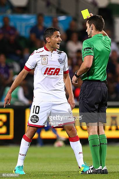 Marcelo Carrusca of Adelaide remonstrates with Referee Jarred Gillett during the round seven ALeague match between the Perth Glory and Adelaide...