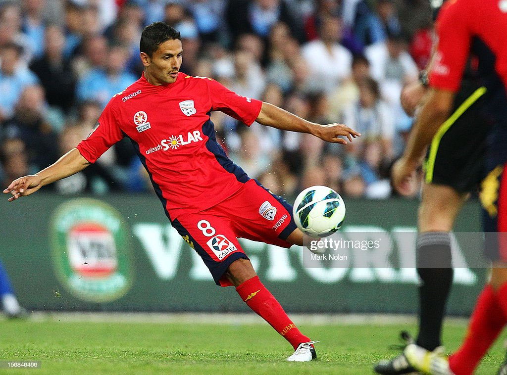 Marcelo Carrusca of Adelaide shoots for goal during the round eight A-League match between Sydney FC and Adelaide United at Allianz Stadium on November 23, 2012 in Sydney, Australia.