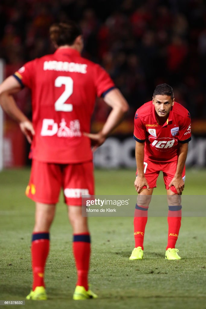 Marcelo Carrusca of Adelaide United looks on after the round 25 A-League match between Adelaide United and Perth Glory at Coopers Stadium on March 31, 2017 in Adelaide, Australia.