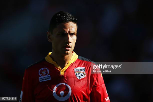 Marcelo Carrusca of Adelaide United looks on during the round 17 ALeague match between Adelaide United and the Newcastle Jets at Coopers Stadium on...