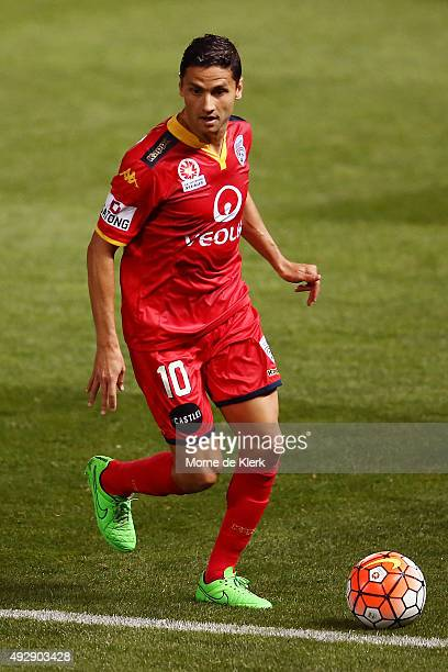 Marcelo Carrusca of Adelaide United runs with the ball during the round two ALeague match between Adelaide United and the Western Sydney Wanderers at...