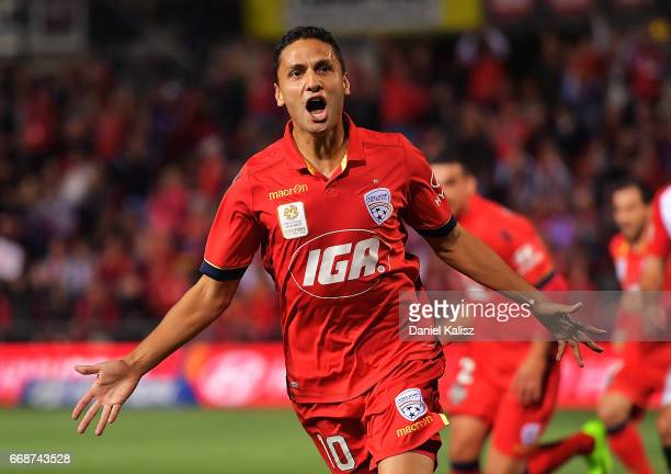 Marcelo Carrusca of United celebrates after scoring a goal from a penalty kick during the round 27 ALeague match between Adelaide United and the...