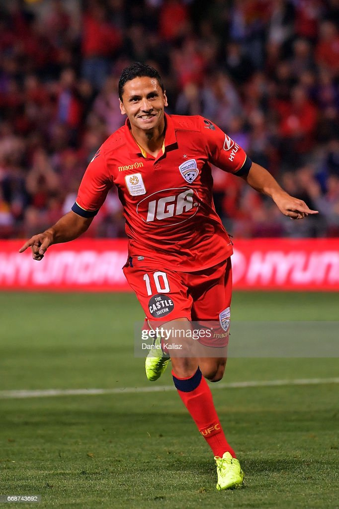 Marcelo Carrusca of United celebrates after scoring a goal from a penalty kick during the round 27 A-League match between Adelaide United and the Western Sydney Wanderers at Coopers Stadium on April 15, 2017 in Adelaide, Australia.
