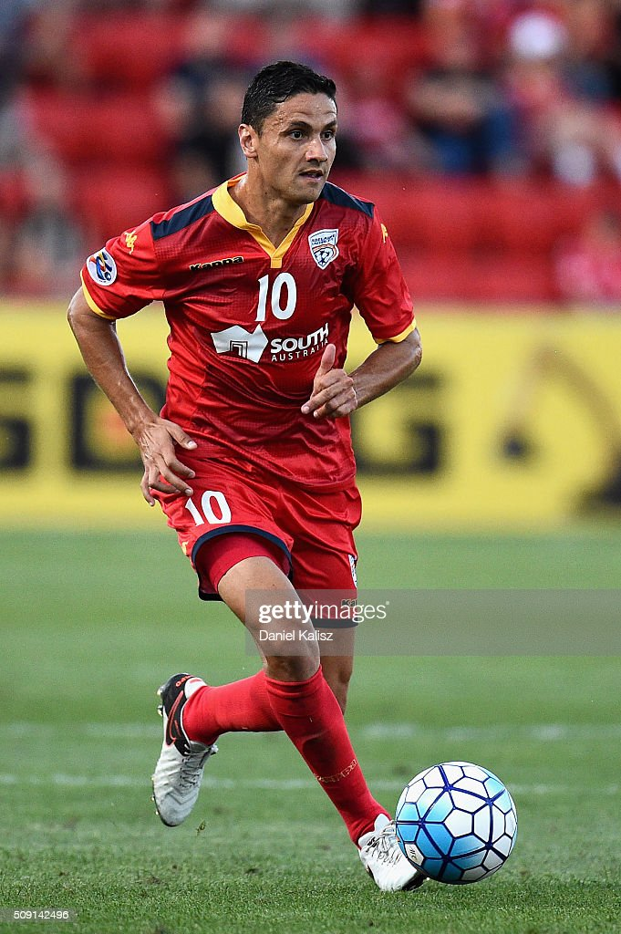 Marcelo Carrusca of United controls the ball during the AFC Champions League playoff match between Adelaide United and Shandong Luneng at Coopers Stadium on February 9, 2016 in Adelaide, Australia.