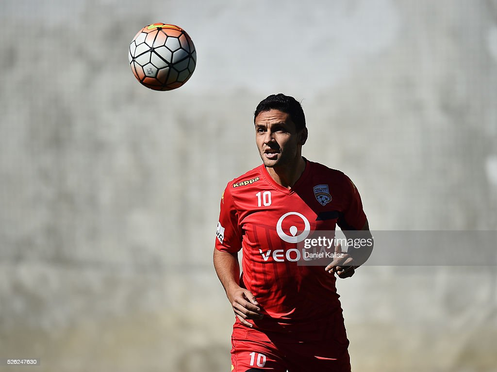 Marcelo Carrusca of United headers the ball during an Adelaide United A-League training session at Coopers Stadium on April 30, 2016 in Adelaide, Australia.
