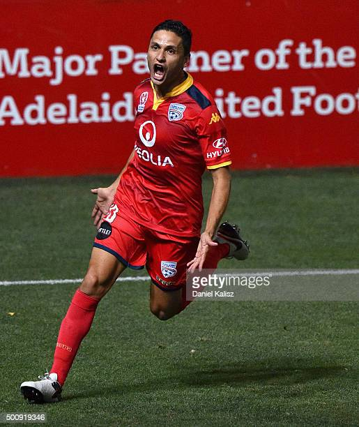 Marcelo Carrusca of United reacts after scoring a goal from a penalty kick during the round 10 ALeague match between Adelaide United and Sydney FC at...