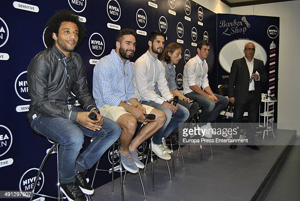 Marcelo Dani Carvajal Isco Luka Modric and Gareth Bale present the campaign for Nivea Men Sensitive on May 14 2014 in Madrid Spain