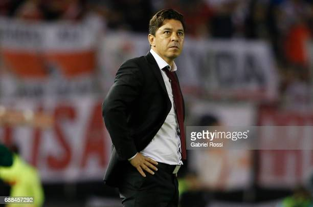 Marcelo Daniel Gallardo coach of River Plate gestures during a group stage match between River Plate and Independiente Medellin as part of Copa...