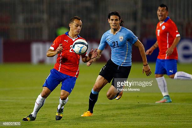Marcelo Diaz of Chile controls the ball with the chest during an international friendly match between Chile and Uruguay at Monumental Stadium on...