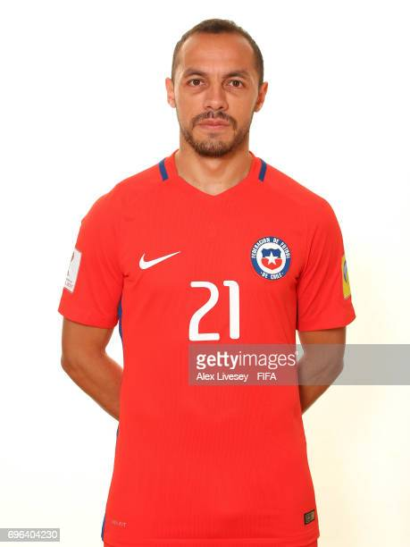 Marcelo Diaz of Chile during a portrait session ahead of the FIFA Confederations Cup Russia 2017 at the Crowne Plaza Hotel on June 15 2017 in Moscow...