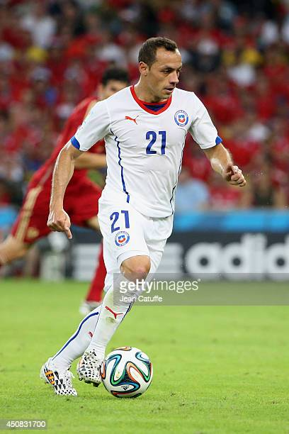 Marcelo Diaz of Chile in action during the 2014 FIFA World Cup Brazil Group B match between Spain and Chile at Estadio Maracana on June 18 2014 in...