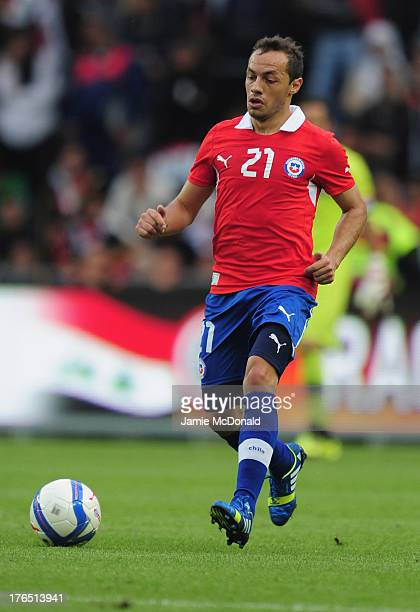 Marcelo Diaz of Chile in action during the international friendly match between Chile and Iraq at the Brondby Stadium on August 14 2013 in Brondby...