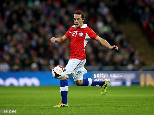 Marcelo Diaz of Chile in action during the international friendly match between England and Chile at Wembley Stadium on November 15 2013 in London...