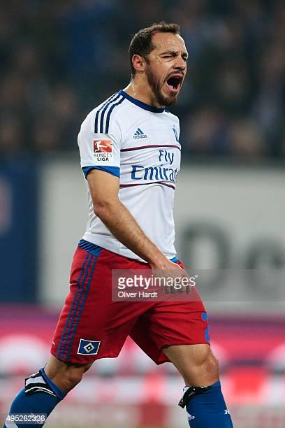 Marcelo Diaz of Hamburg appears frustrated during the First Bundesliga match between Hamburger SV and Hannover 96 at Volksparkstadion on November 1...