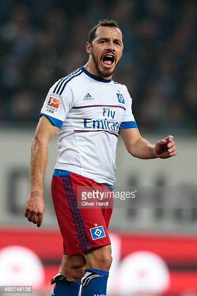 Marcelo Diaz of Hamburg reacts during the First Bundesliga match between Hamburger SV and Hannover 96 at Volksparkstadion on November 1 2015 in...