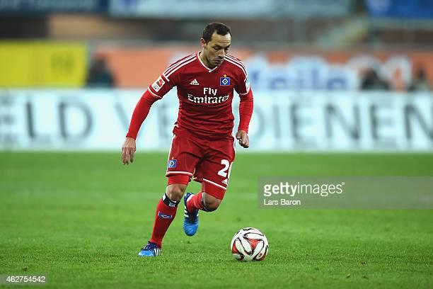 Marcelo Diaz of Hamburg runs with the ball during the Bundesliga match between SC Paderborn 07 and Hamburger SV at Benteler Arena on February 4 2015...