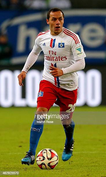 Marcelo Diaz of Hamburg runs with the ball the ball during the Bundesliga match between Hamburger SV and Hannover 96 at Imtech Arena on February 7...