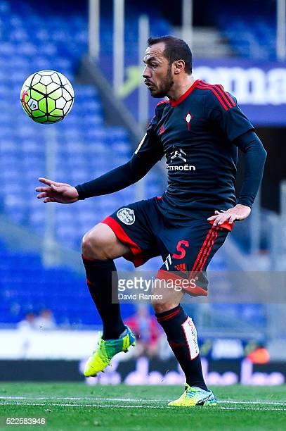 Marcelo Diaz of RC Celta de Vigo controls the ball during the La Liga match between Real CD Espanyol and Celta Vigo at CornellaEl Prat Stadium on...