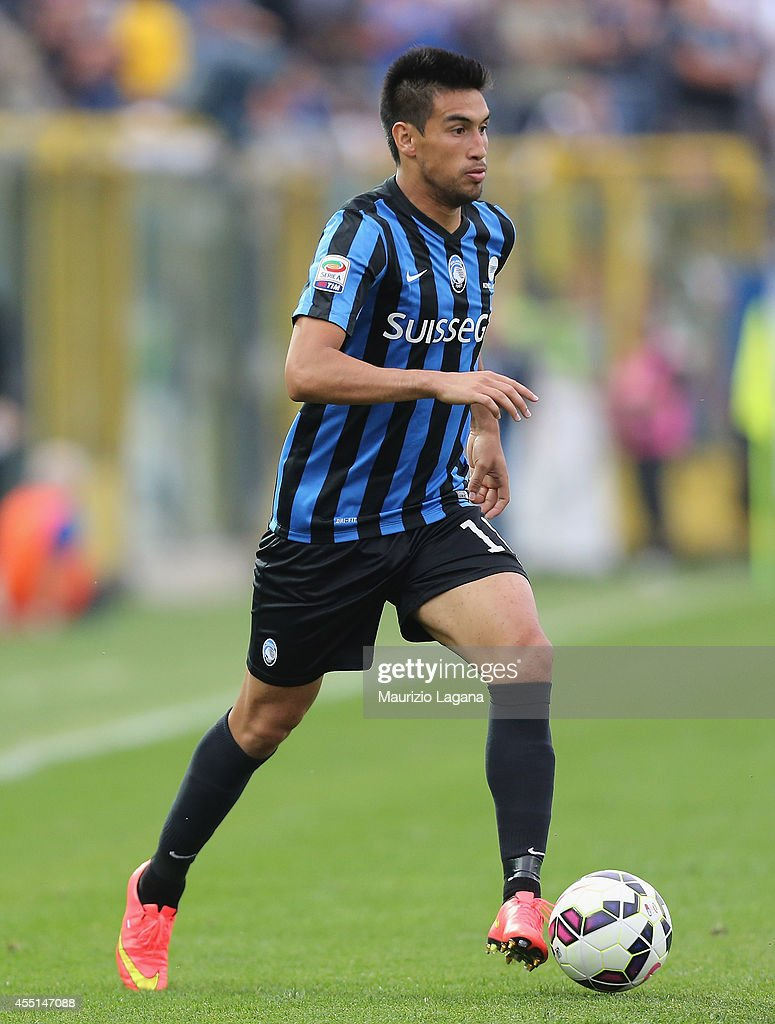 <a gi-track='captionPersonalityLinkClicked' href=/galleries/search?phrase=Marcelo+Estigarribia&family=editorial&specificpeople=5356243 ng-click='$event.stopPropagation()'>Marcelo Estigarribia</a> of Atalanta during the Serie A match between Atalanta BC and Hellas Verona FC at Stadio Atleti Azzurri d'Italia on August 31, 2014 in Bergamo, Italy.