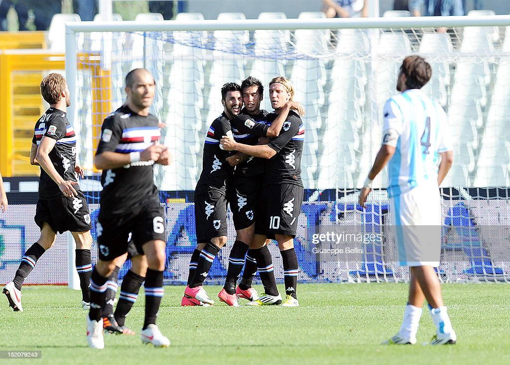 <a gi-track='captionPersonalityLinkClicked' href=/galleries/search?phrase=Marcelo+Estigarribia&family=editorial&specificpeople=5356243 ng-click='$event.stopPropagation()'>Marcelo Estigarribia</a> of Sampdoria celebrates after scoring a goal to make it 0-2 during the Serie A match between Pescara and UC Sampdoria at Adriatico Stadium on September 16, 2012 in Pescara, Italy.