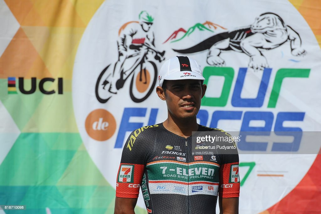 Marcelo Felipe of 7 Eleven Cycling Team Philippines celebrates on the podium after taking third position during Individul General Classification by Time awarding ceremony of the Tour de Flores 2017 on July 19, 2017 in Labuan Bajo, Flores, Indonesia.