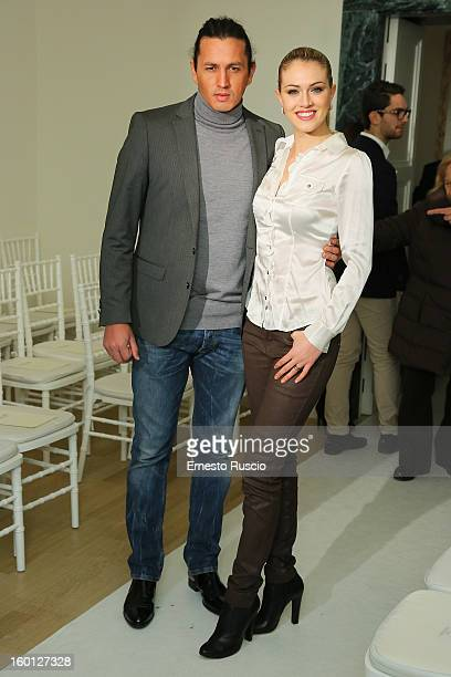 Marcelo Fuentes and Sofia Bruscoli attend the Giada Curti fashion show as part of AltaRoma AltaModa Fashion Week on January 26 2013 in Rome Italy