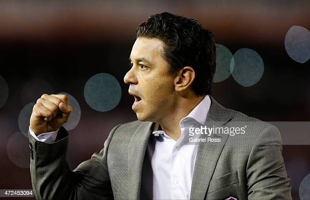 Marcelo Gallardo coach of of River Plate celebrates after winning the first leg match between River Plate and Boca Juniors as part of round of...