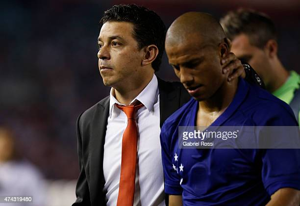 Marcelo Gallardo coach of River Plate and Carlos Sanchez of River Plate leave the field after losing a first leg match between River Plate and...